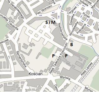 Mapka dojazdu do biura zawodów i parkingów